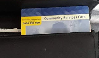 A Community Services Card sitting in a wallet